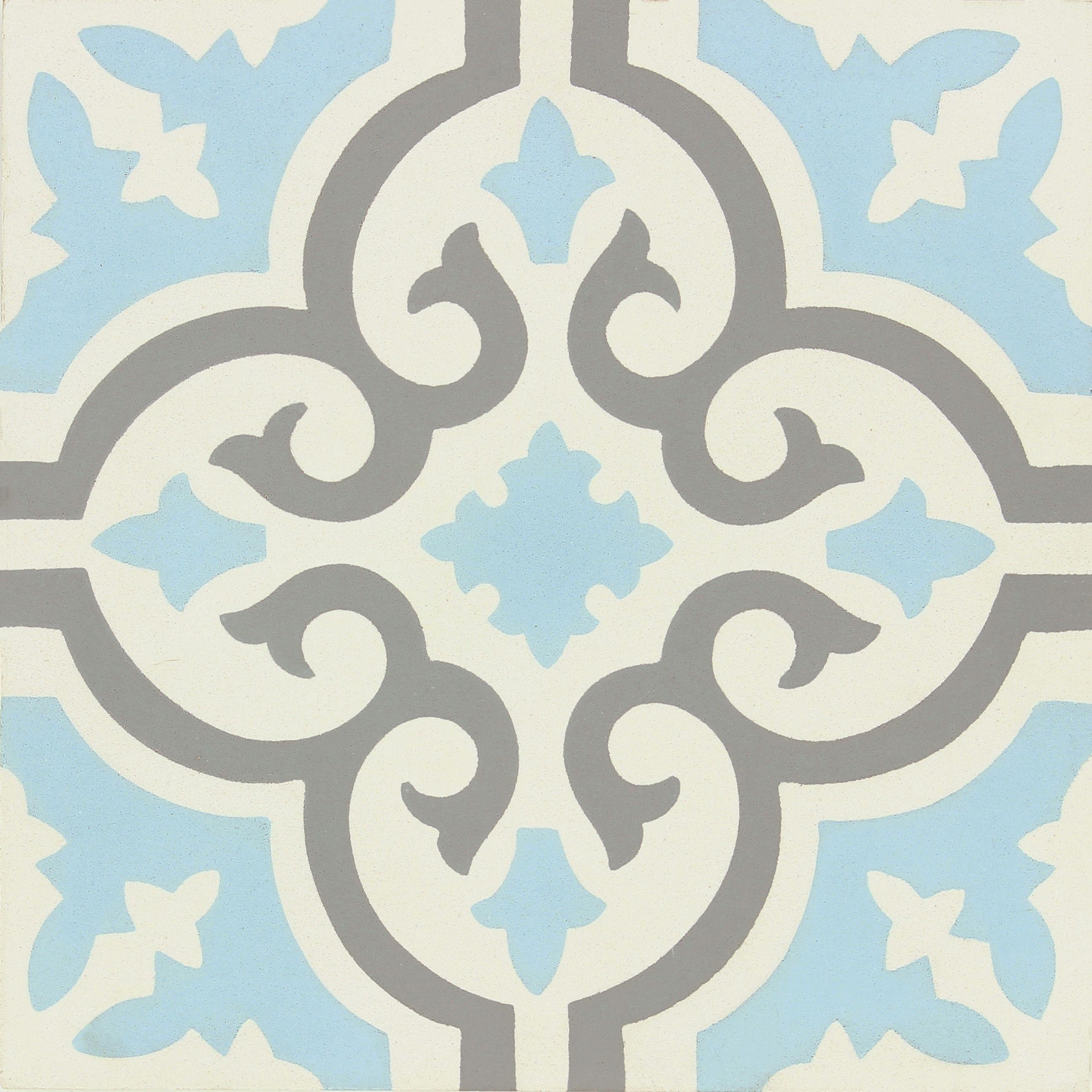 Carreau De Ciment Belle Epoque Decor Elise Gris Bleu Et Blanc L