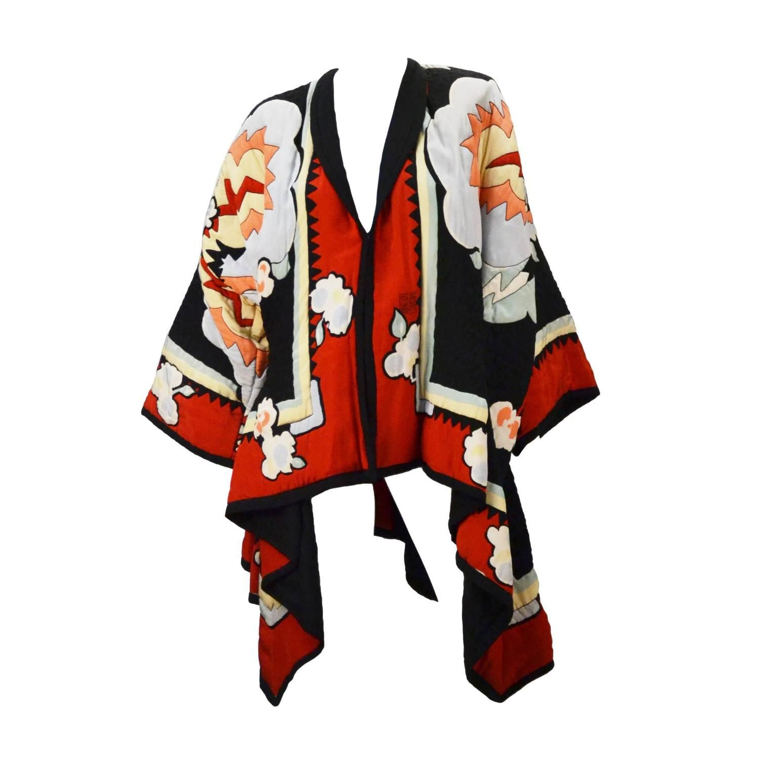 Iconic 1980's Michaele Vollbracht Quilted Silk Kimono/Jacket  | From a collection of rare vintage coats and outerwear at https://www.1stdibs.com/fashion/clothing/coats-outerwear/