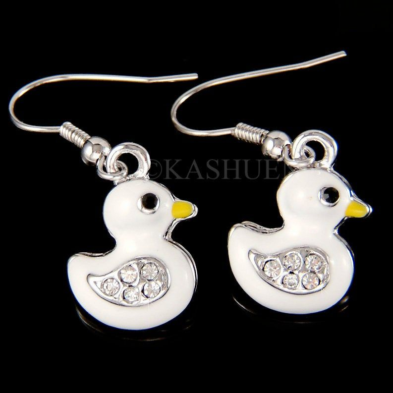 2 x Silver Plated Duck Enamel Pendant Charms