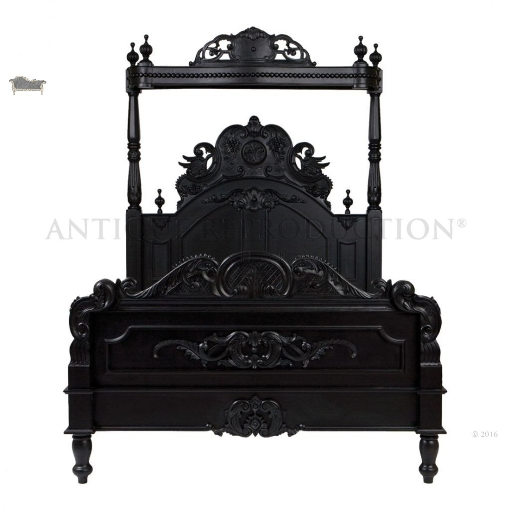 french heavy gothic victorian canopy bed black