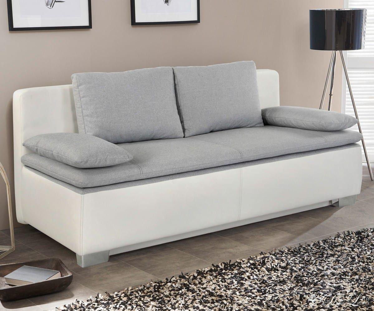 Schlafcouch Mit Bettkasten Awesome Schlafsofa Tolga 202 96 Weiss Hellgrau Couch Mit