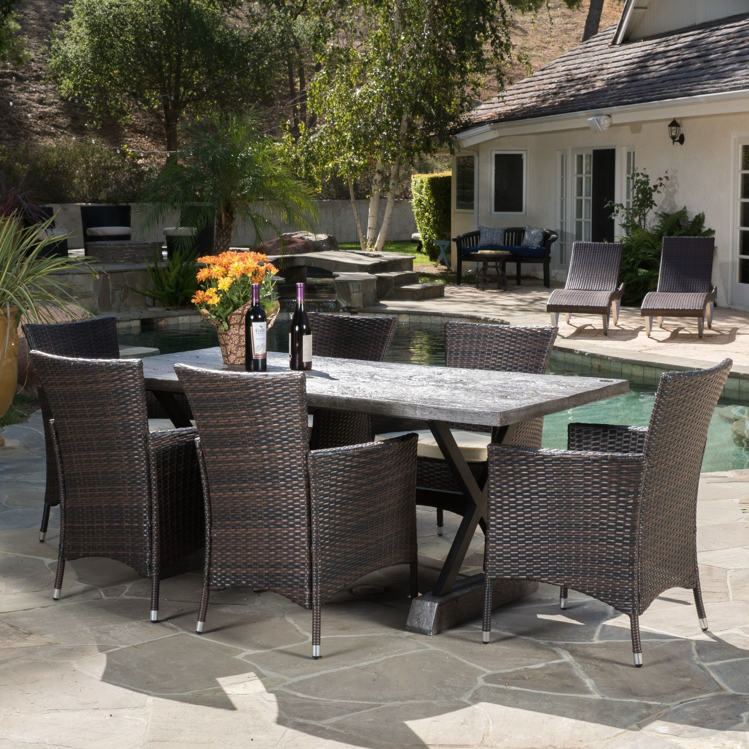 Capri Outdoor 7-piece Dining Set with Cushions by Christopher Knight ...