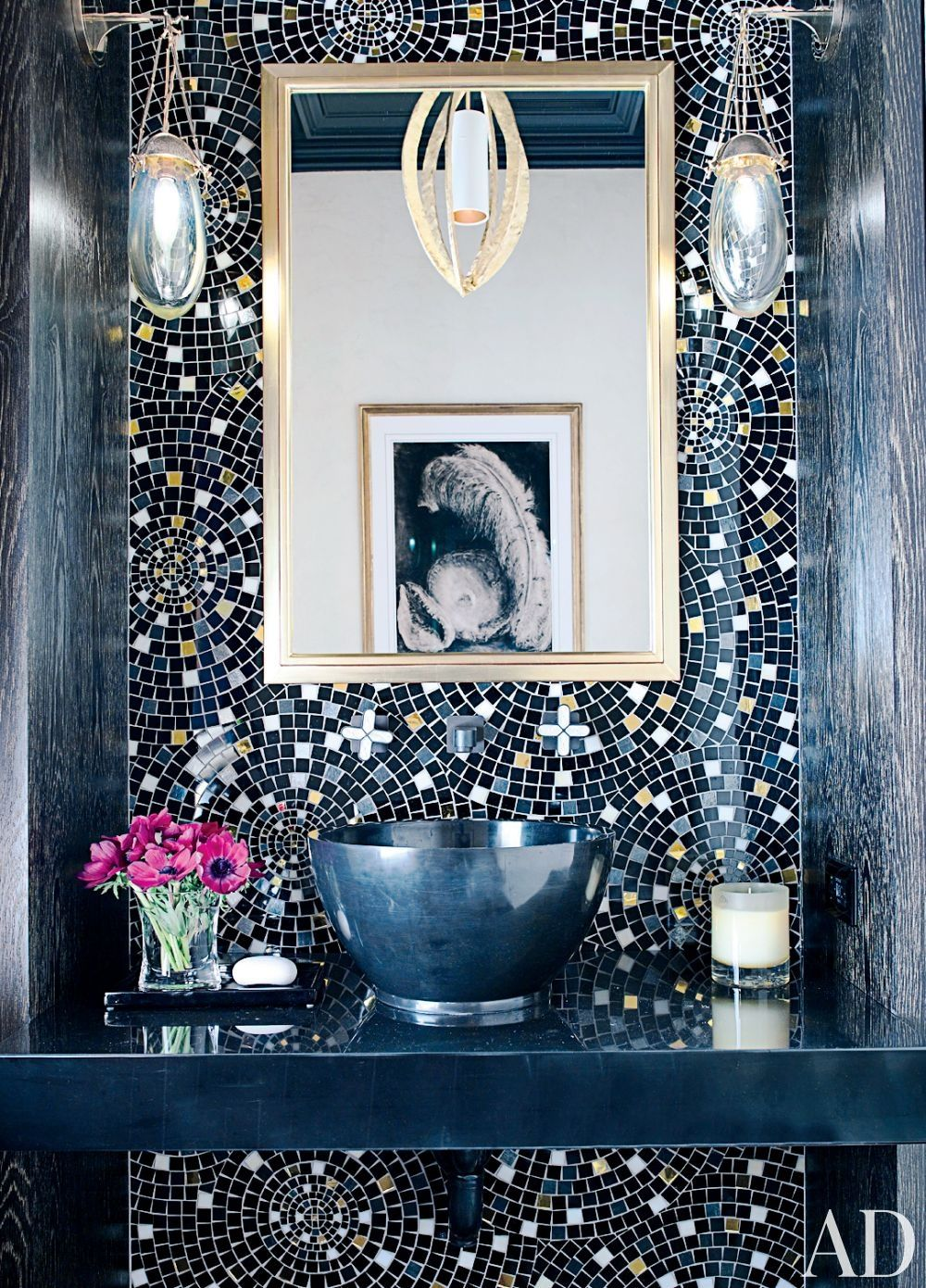 Dark blue bathroom designs - Bold Mosaic Tile Navy Blue Bold Color Bathroom Ideas