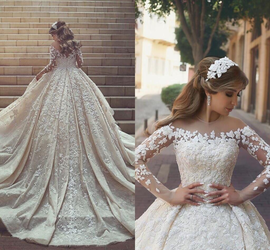 Awesome great sheer neck beaded lace bridal wedding dress long