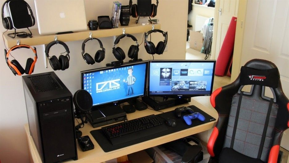 astounding design gaming setup desk. Astounding Game Room Interior Design Featuring Cream Wooden Desk And  Hanging Headsets Plus Black Red Leather Chair Together With Two Monitors In Adorable Gaming Ideas