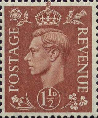 Definitives - Pale Colours 1.5d Stamp (1941) Pale Red Brown