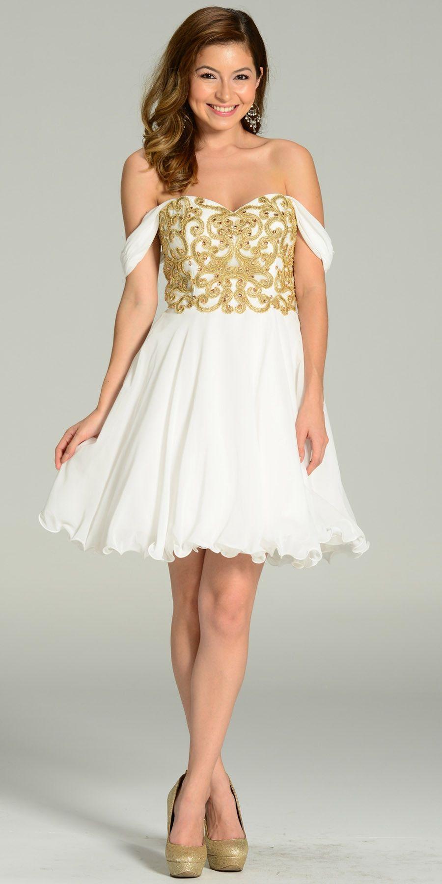 Short Chiffon Spanish Style Off The Shoulder Dress Royal Blue Gold ...