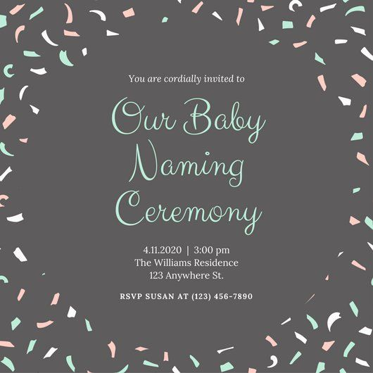 Green And Gray Baby Naming Ceremony Invitation  Naming Ceremony