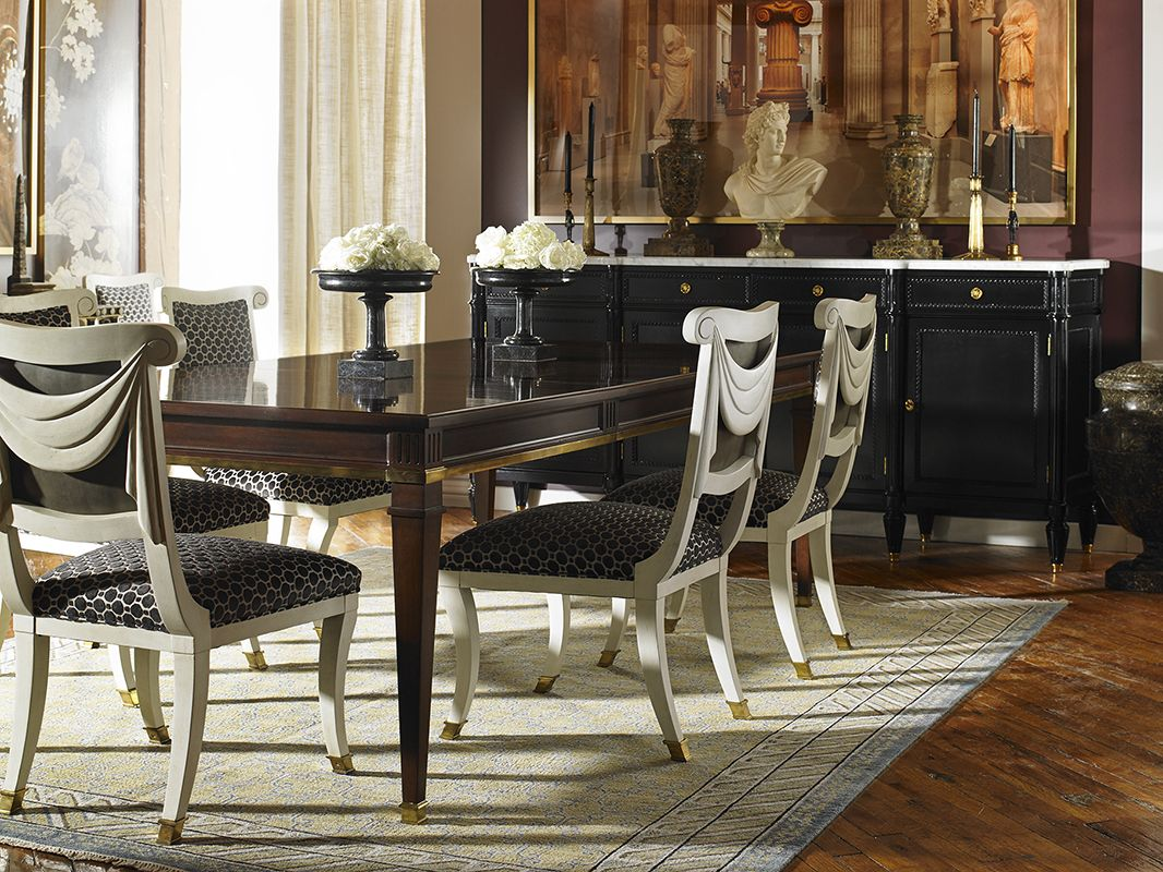 5240 10 Lincoln Dining Table Abigail Dining Chairs And Jefferson Sideboard By Hickory Chair Shown With Maitland Smith Accesso Hickory Chair Table Dining Table