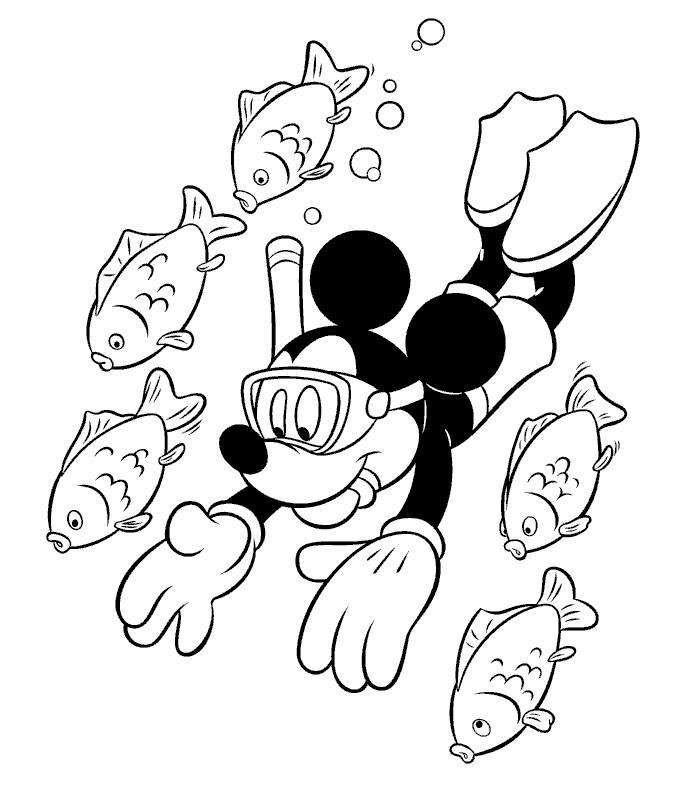 Coloriage mickey imprimer en ligne et gratuit mickey en pleine plong e sous marine avec des - Coloriage minnie et mickey a imprimer ...