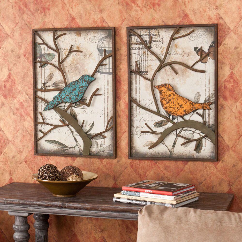 2piece Vintage Metal Bird Wall Art Panel Frame Sculpture Modern Kitchen Decor Decoration Cuisine Decora In 2020 Metal Bird Wall Art Bird Wall Decor Bird Wall Art