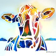 Cow Art Painted by watercolor artist, ©Jo Lynch, watercolor, painted size 11 x 14. Vivid warm colors depict this sweet natured farm animal. Bright BOLD shapes make this a dynamic barnyard painting. This whimsical painting is available as a print on  jo-lynch.artistwe...  .  My website is  whimzicals.com    Enjoy !   All of my artworks are registered with the US Copyright office.