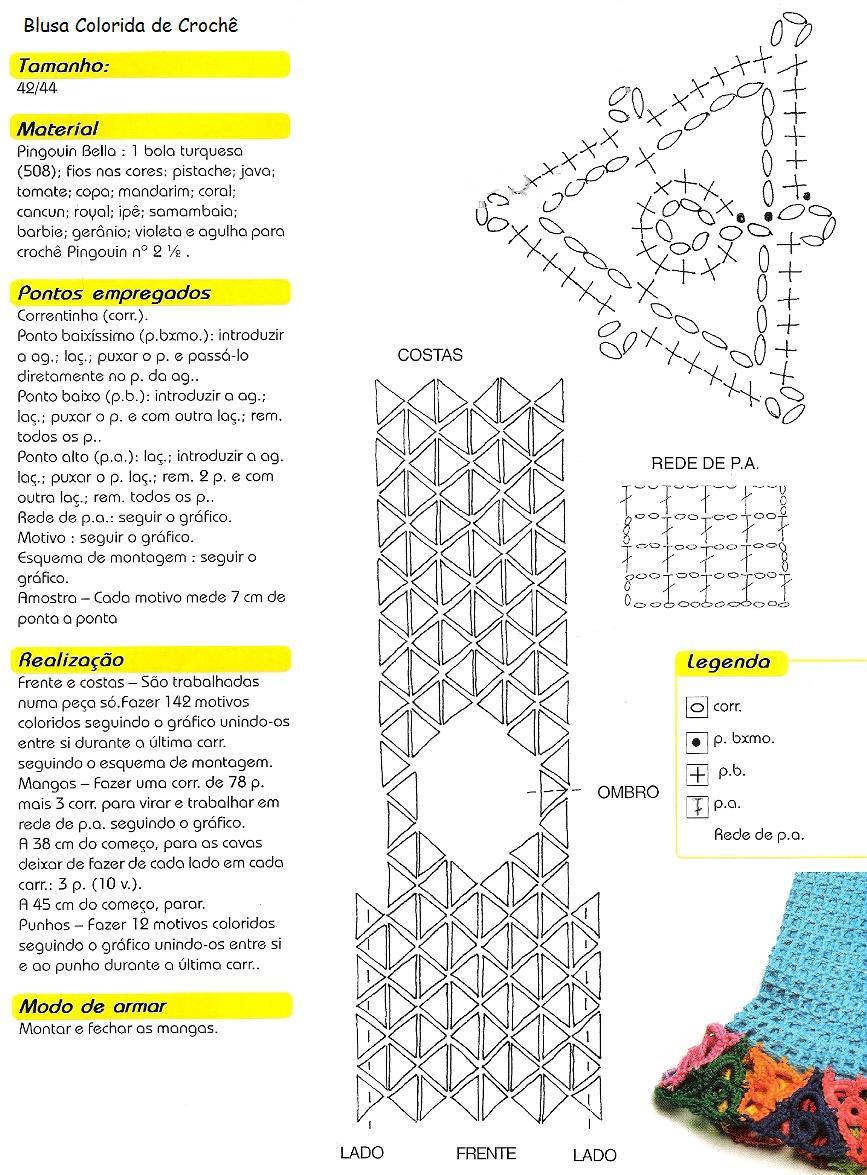 Jersey Triangulos Abstractos de Crochet Patron - Patrones Crochet ...