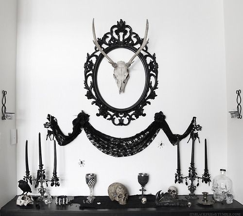 skulls bat home skull magic living room skeleton witch candles decor raven decoration goth steampunk deer gothic victorian spell antlers shrine lounge - Goth Bedroom Decorating Ideas