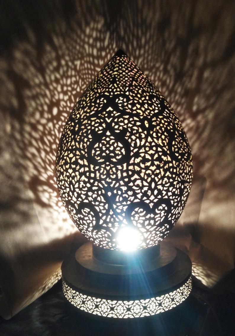 Moroccan Brass Lamp Table Lamp Moroccan Light Handmade Etsy
