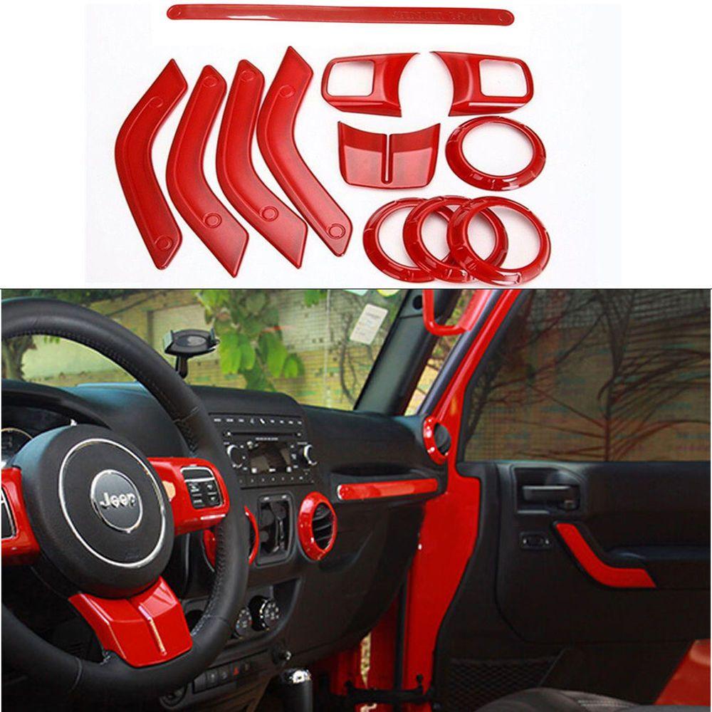 Red 12pcs Set Interior Decoration Trim Kit Fits For Jeep