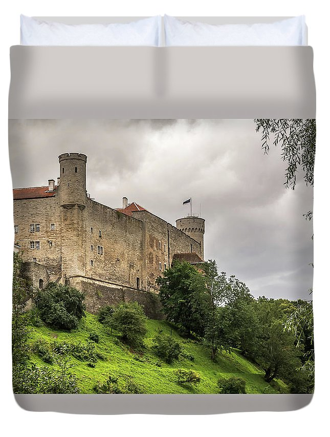 Toompea Duvet Cover Featuring The Photograph Castle Wall With Towers On Toompea Hill In Tallin Estonia By Castle Wall Colorful Backgrounds Nature Photography