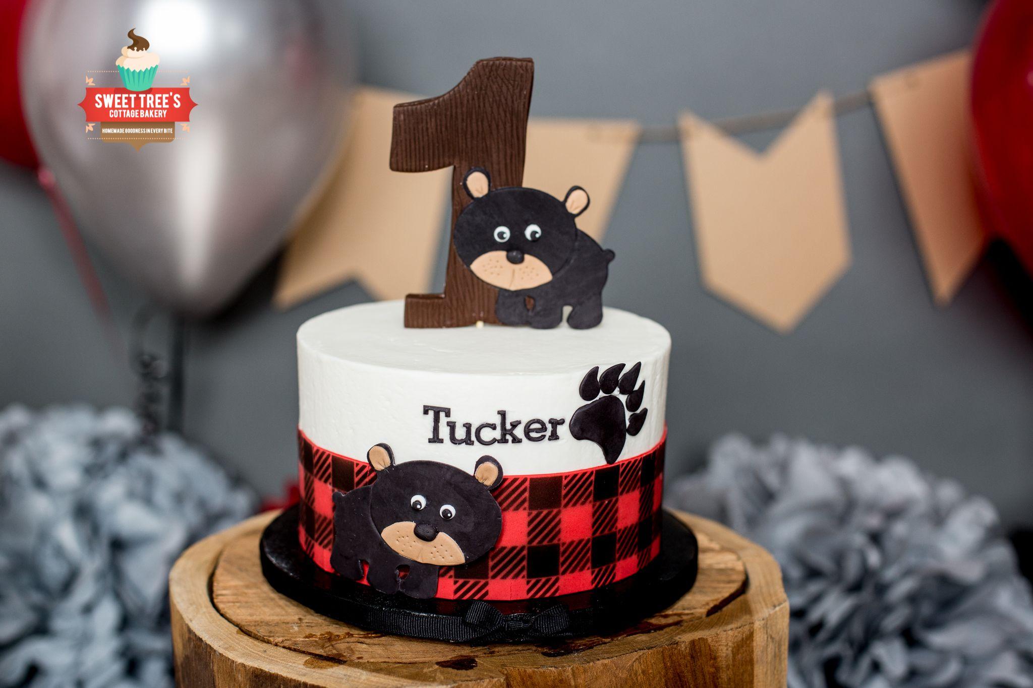 Buffalo Plaid And Bear Cubs Smash Cake Lumberjack Birthday Party Buffalo Plaid Birthday Party Smash Cake Boy