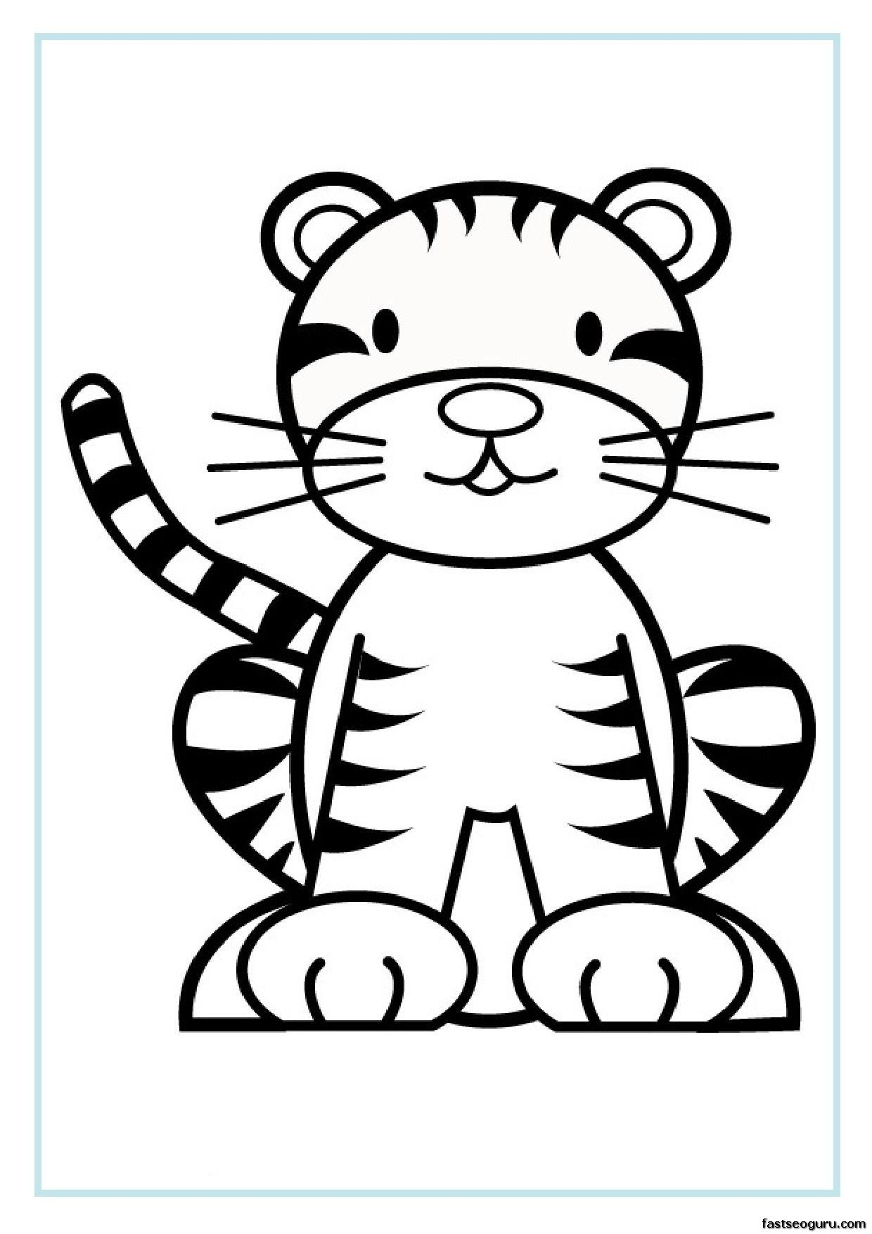 Free Printable Animal Tiger Baby Colouring Sheet For Kids