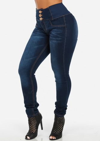12fa4104e0b High Waisted Butt Lifting Skinny Jeans with Banded Waist (Dark Indigo)