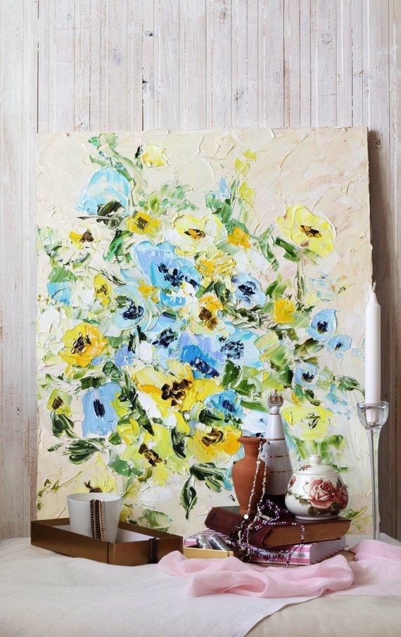 Impasto Painting Floral Impasto Oil Painting Rose Impasto Beige and