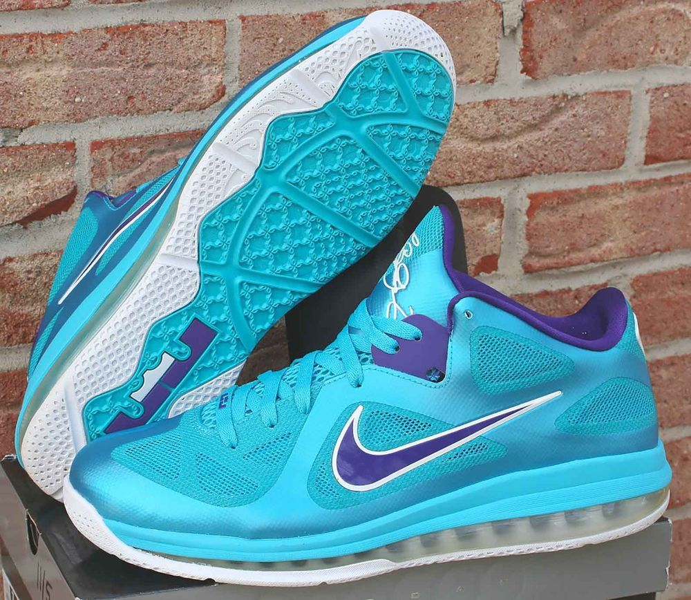 34c018f06139 Nike LeBron 9 Low Summit Lake Hornets Size 13 Turquoise Blue Purple 510811- 400  Nike  BasketballShoes