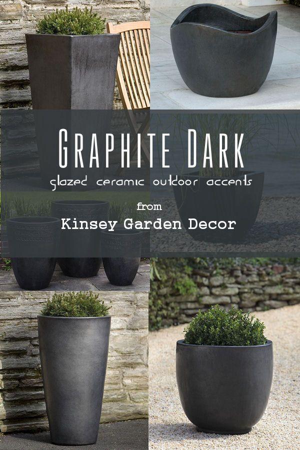 Aluan Modern Tall Round Ceramic Outdoor Planter Graphite Large
