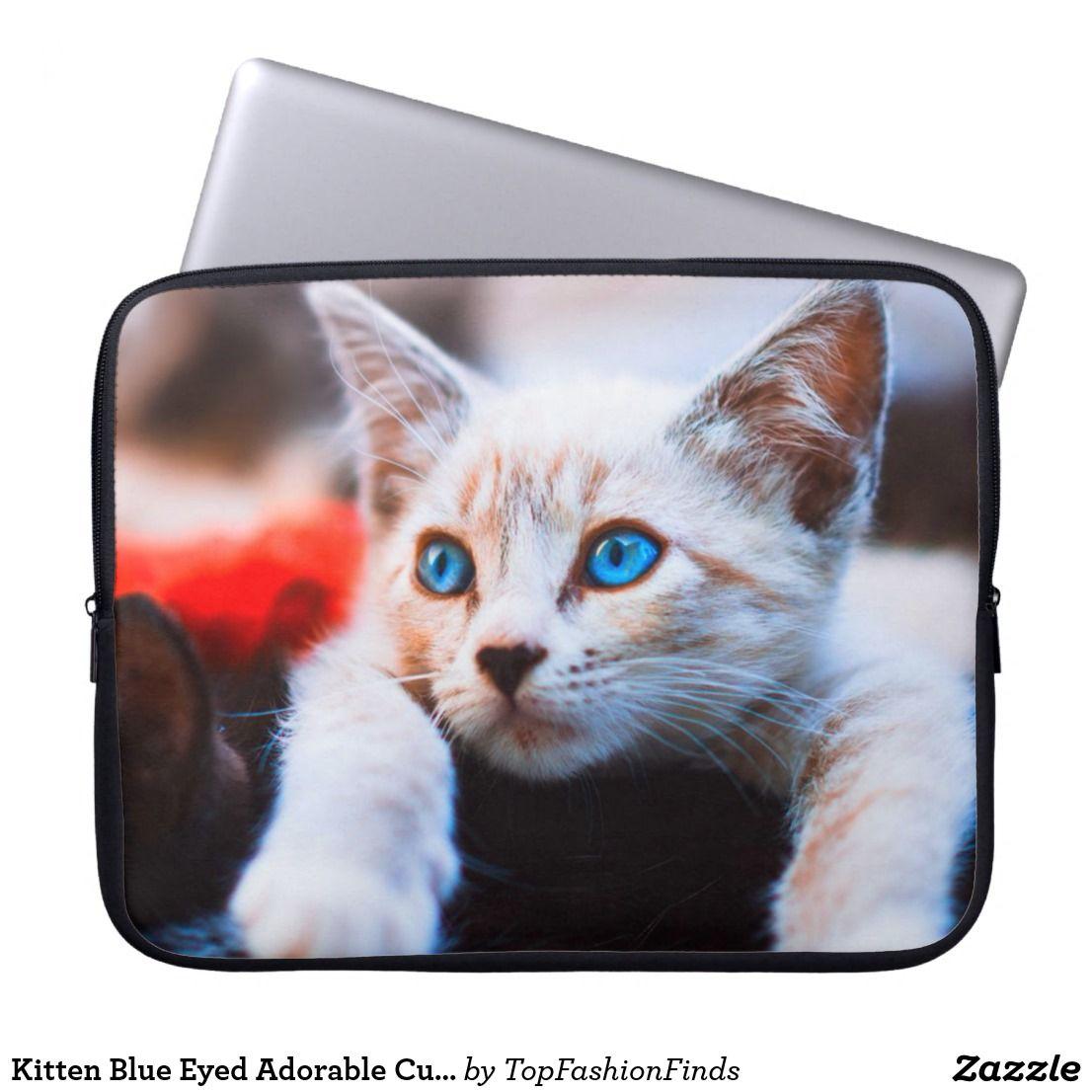 Kitten blue eyed adorable cute cat laptop sleeve zazzle
