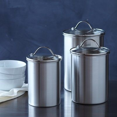 Williams Sonoma Open Kitchen Stainless Steel Canister Ceramic Kitchen Canisters Stainless Steel Canister Set Stainless Steel Canisters