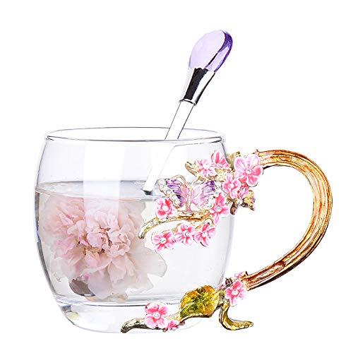Do4U Unique Novelty 3D Flower Glass Tea Cup Plum Blossoms