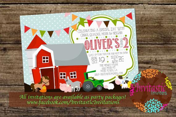 Farm Animal Birthday Invitation Old Mcdonald Theme Farmer Birthday