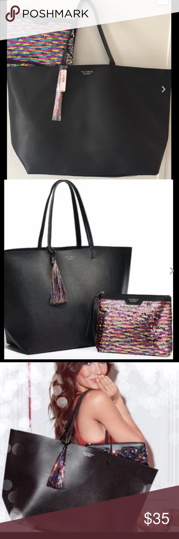 0860309fb8e0 Brand NWT Victoria s Secret Black Tote w MiniBag Brand new! Extra Large  Size! Fast Shipping! No Trades. PINK Victoria s Secret Bags Totes
