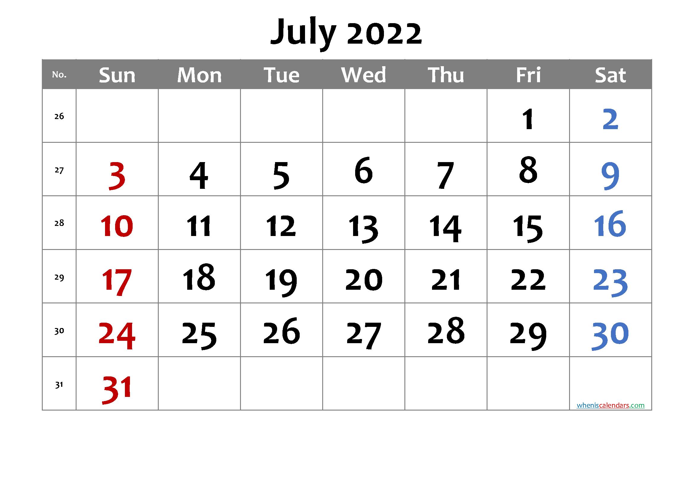 Printable Calendar July 2022.Free Printable July 2022 Calendar 6 Templates Printable Calendar Template Printable Calendar July Calendar Printables