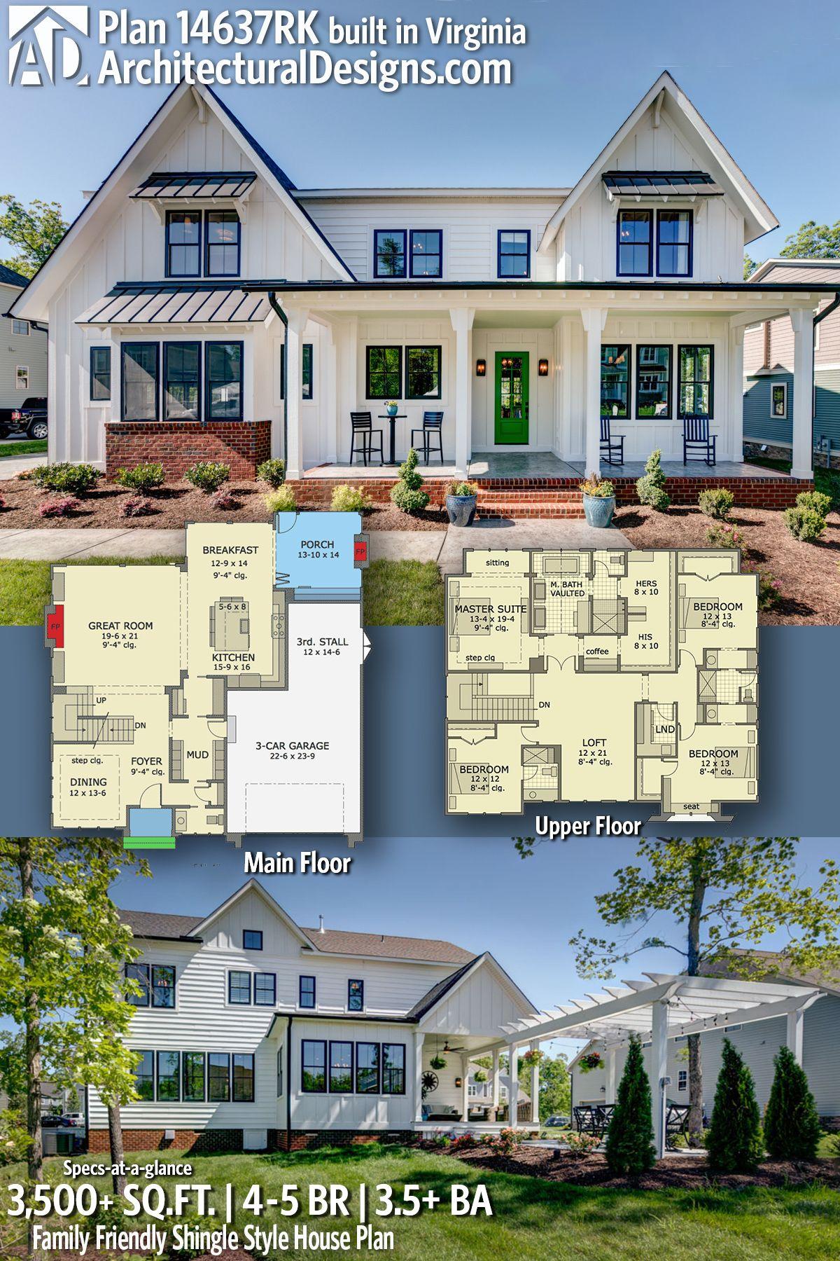 Plan 14637rk Family Friendly Shingle Style House Plan House