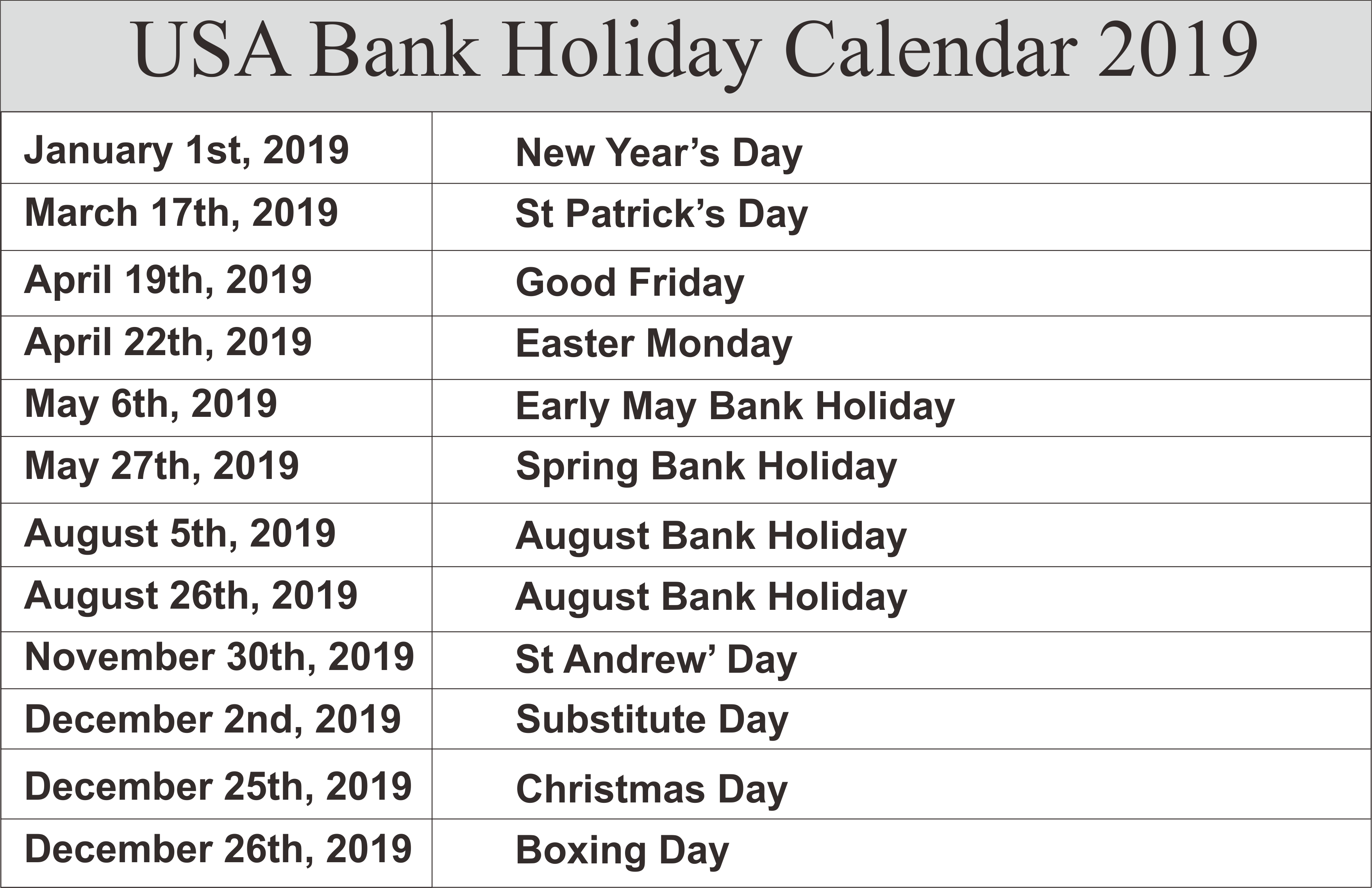 Us Bank Holidays Calendar 2019 Us Holiday Calendar Holiday Calendar School Holiday Calendar