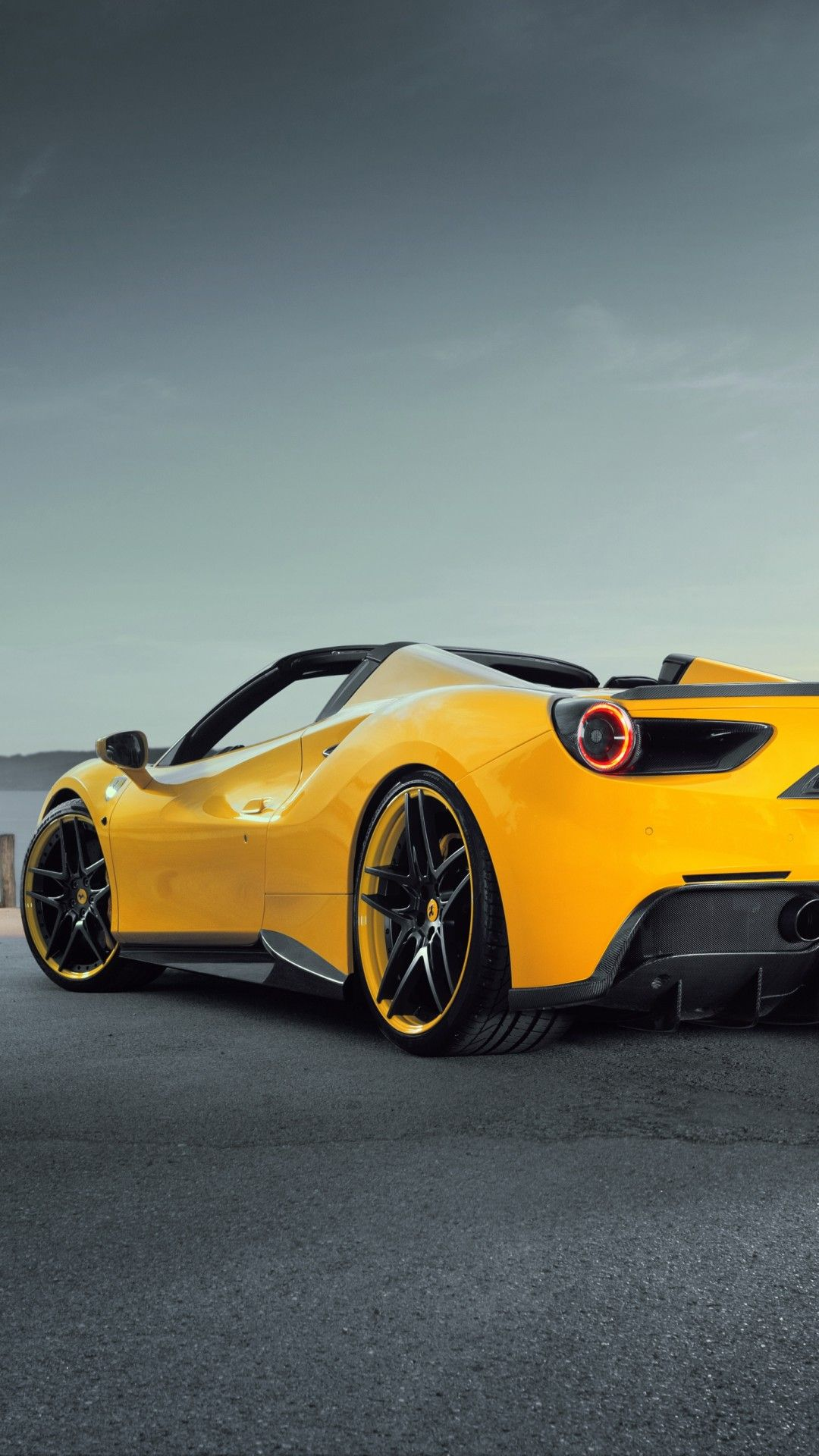 Ferrari 488 Spider Yellow Rear View Super Cars Ferrari Ferrari 488