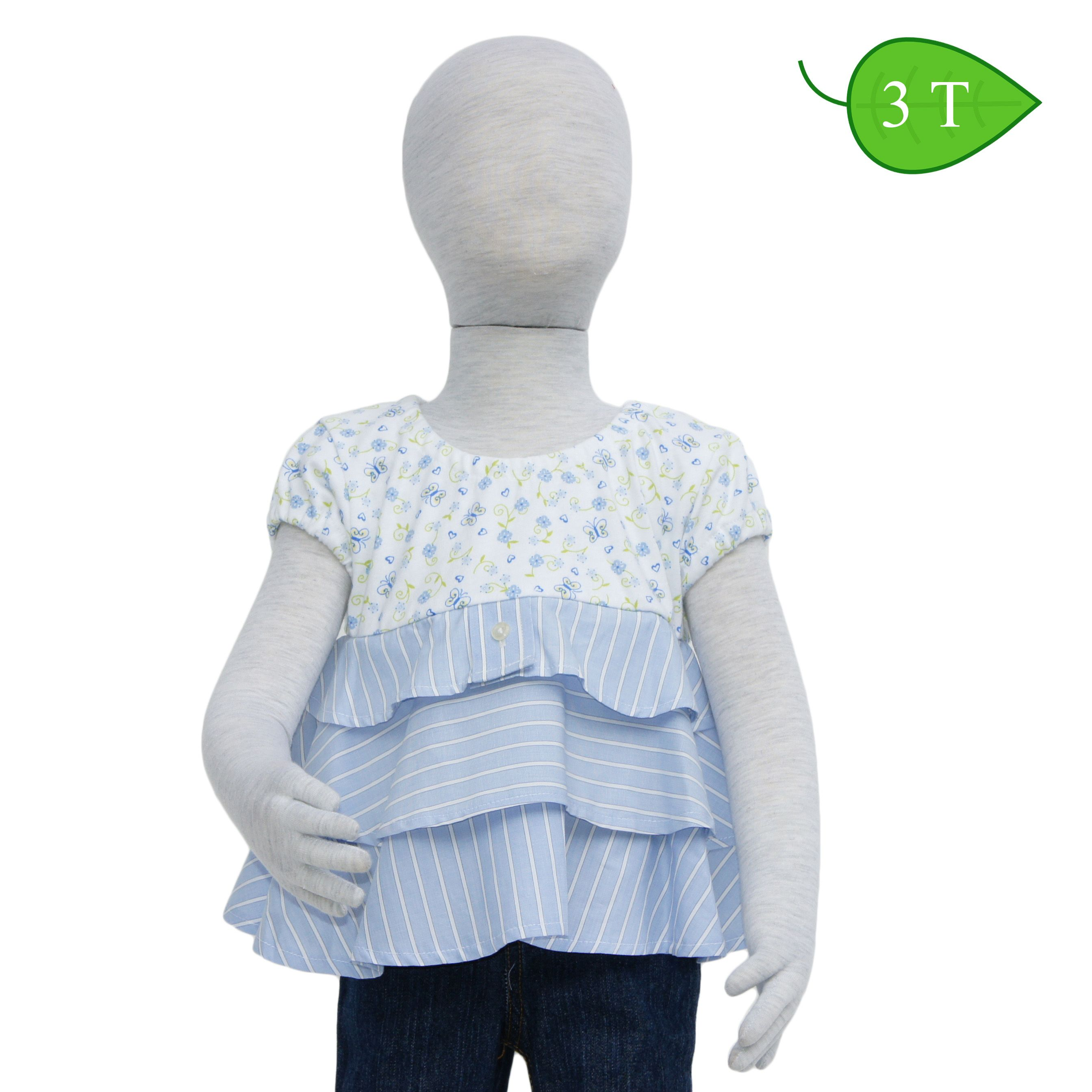 Flitter -- Cool and comfortable describe this top. The bodice is made from a cotton knit, has elasticized short sleeves, a crew neckline and a flirty 3 tiered bottom made from a light-weight woven cotton blend. ($15)