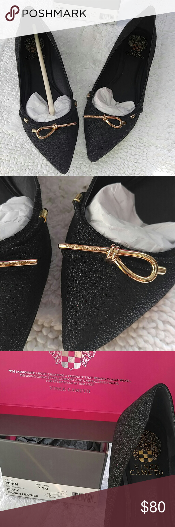 Vince Camuto Blk Caviar Leather Stunning! Size 7.5 Absolutely love but I need an 8. Worn once for family Easter dinner.  Been sitting in box. Gorgeous details! You will get so many compliments! Great black flat to dress up or down! Vince Camuto Shoes Flats & Loafers