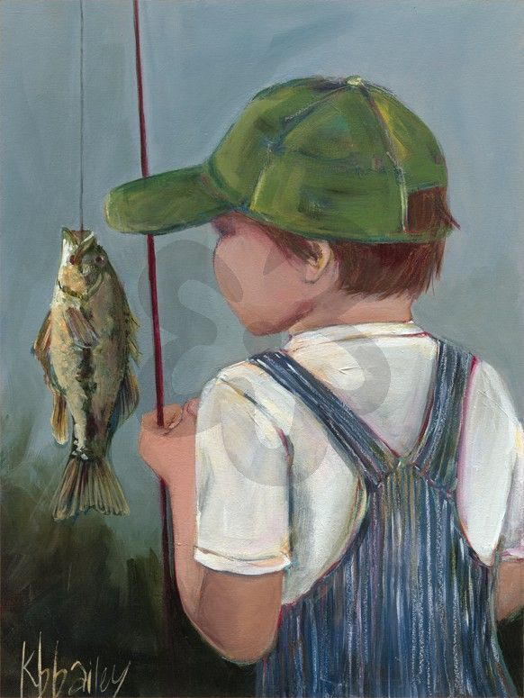 """Excited to see my """"Lil' Fisher Boy"""", Sports Canvas Wall Art  available now through Oopsy daisy.  #kristinabaileyart"""
