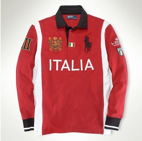 Significant Prices Ralph Lauren Men Big Pony Long Sleeves Polo Italy Red  White Black