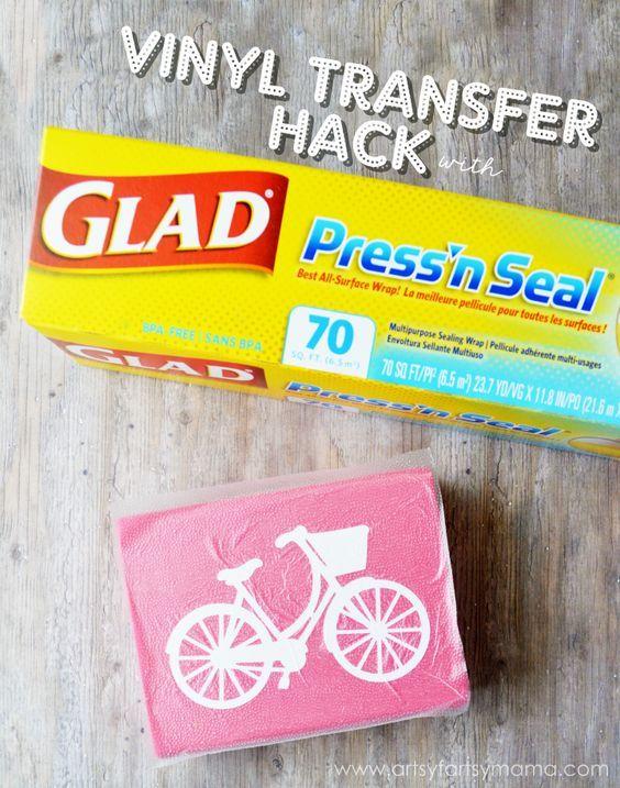 Vinyl Transfer Glad Press'n Seal Hack   Cricut   Cricut