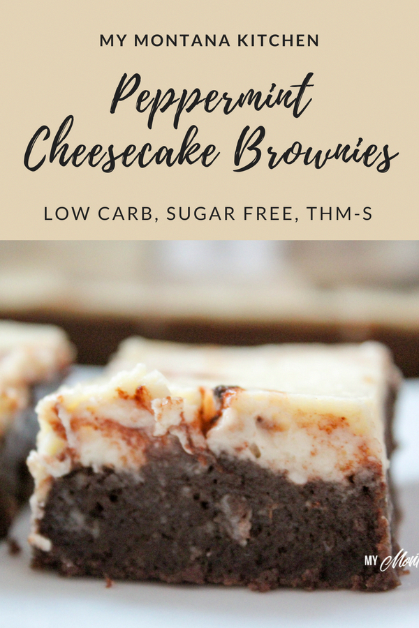 Peppermint Cheesecake Brownies (Low Carb, Sugar Free, THM-S)