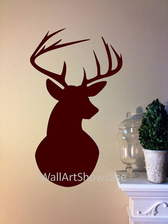 Deer buck side facing silhouette wall vinyl decal