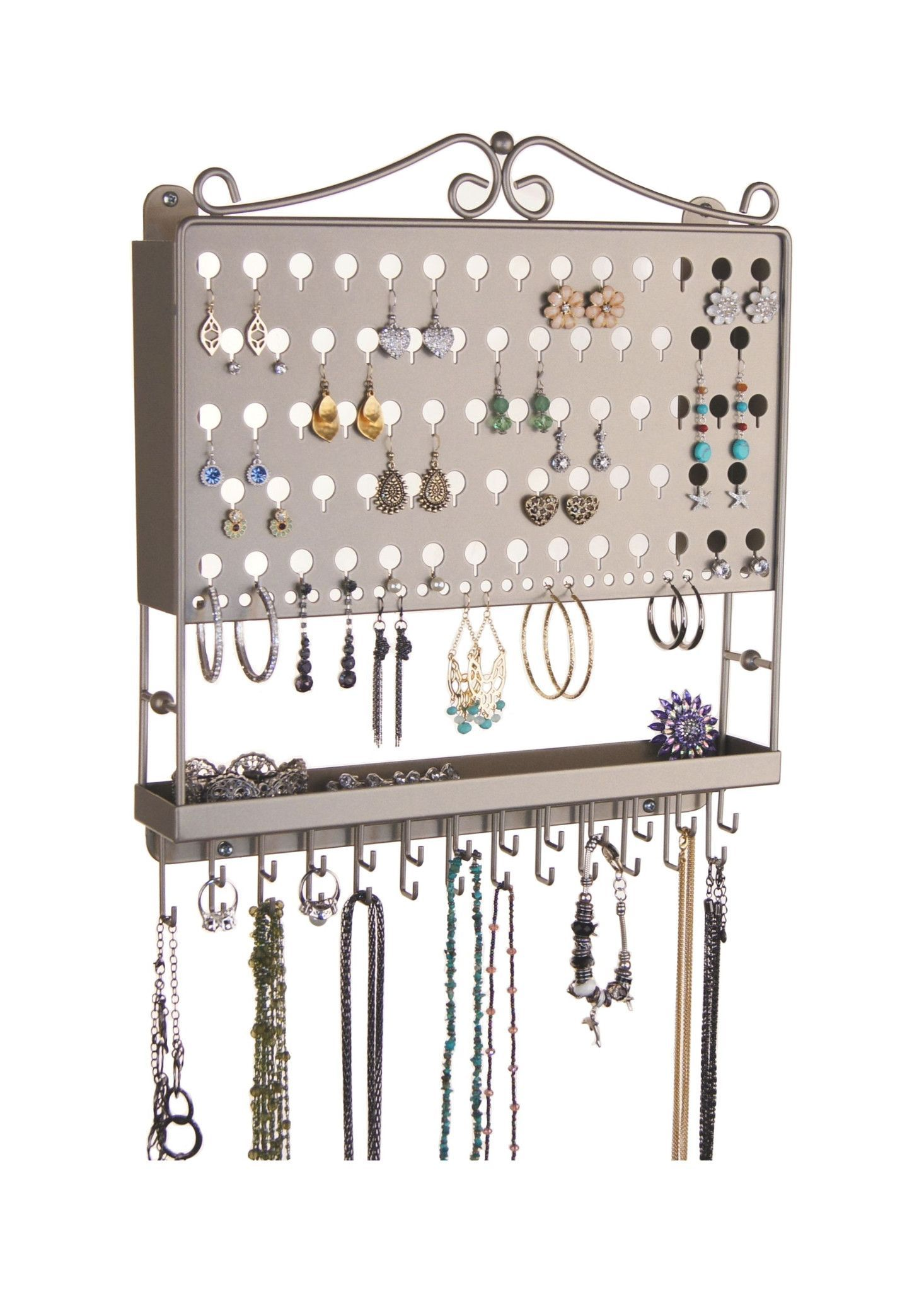 Wall Mount Earring Holder and Necklace Organizer MultiPurpose
