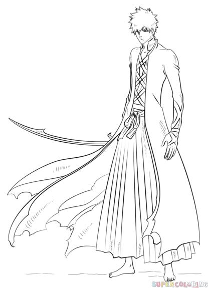 How to draw Ichigo Kurosaki Bankai step by step. Drawing tutorials ...