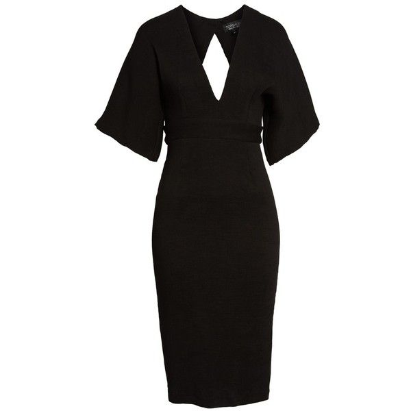 289e6fc0ab Women s Topshop Textured Plunge Midi Dress ( 110) ❤ liked on Polyvore  featuring dresses