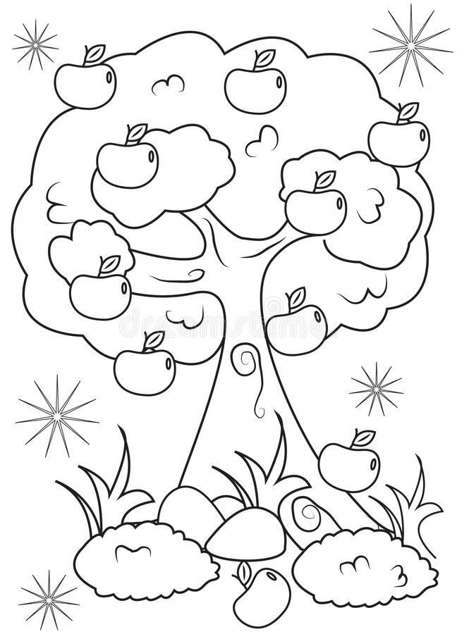 Apple Tree Coloring Page Apple Tree Coloring Page Stock Illustration Illustration Of Owl Coloring Pages Tree Coloring Page Flower Coloring Pages