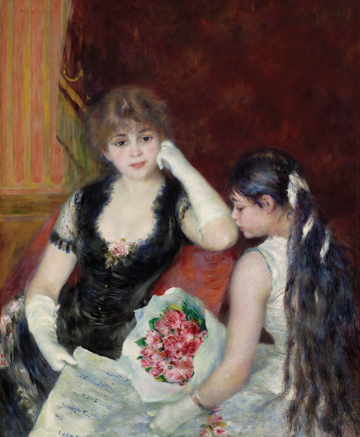 Pierre Auguste Renoir: At the Concert (a/k/a Box at the Opera), 1880. Oil on canvas. Sterling and Francine Clark Art Institute, Williamstown, MA. #Renoir #Impressionism #realism ⌘ http://www.clarkart.edu/museum/featuredObjectDetail.cfm?ID=1