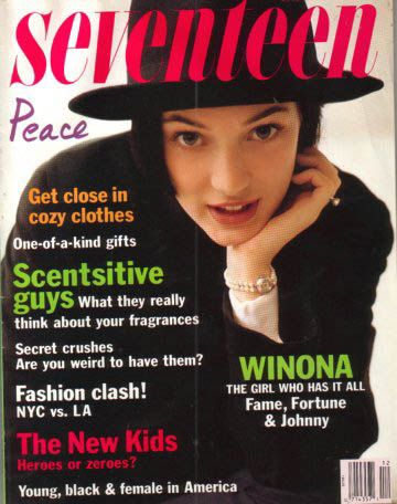 Image result for WINONA RYDER SEVENTEEN MAGAZINE COVER