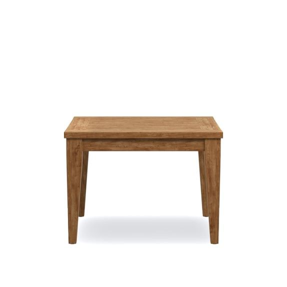 Garden Teak Side Table is part of garden Table Teak - Solid, unfinished premium teak is expressed in a modern, Chippendaleinspired design for our outdoor side table  The spacious, slatted top is perfect al fresco, allowing water and dust to clear through the slim spaces  Slightly tapered legs add…